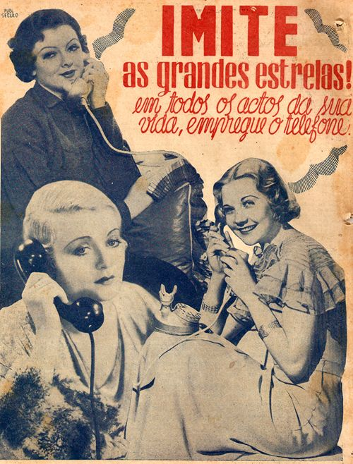 1932 telephone ad, encouraging women to use the phone (Portuguese)