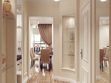 Интерьер однокомнатной квартиры в стиле английской классики, ЖК Гранд Фамилия, 49 км.м
