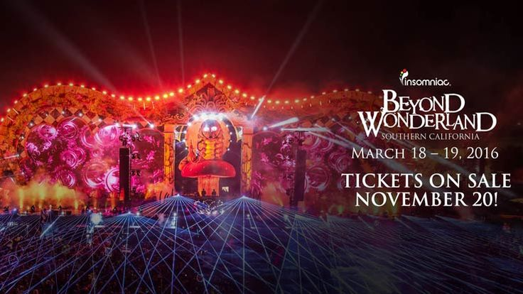 Beyond Wonderland SoCal 2016 Tickets | Beyond Wonderland #SoCal 2016 dates and ticket information has been released! And you KNOW Insomniac Events will bring an A+ lineup. Really looking forward to this one! Subscribe to Booking.com and book through us to save 10% on hotels near the venue, apply for press access, and get more details: http://joinfof.co/15j