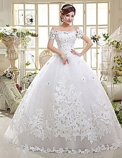 Ball+Gown+Wedding+Dress+-+Classic+&+Timeless+Lacy+Looks+Floor-length+Off-the-shoulder+Satin+/+Tulle+with+Appliques+/+Sequin+/+Beading+–+USD+$+99.99