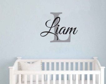 FREE SHIPPING Liam Monogram Wall Decal Personalized Name - Children Art - Saying Wall Decal - Vinyl Wall Decals