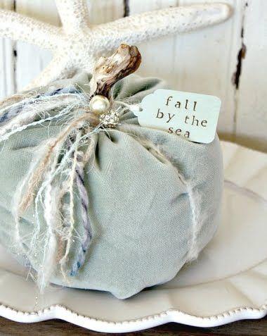 Autumn... Coastal Style! Making Beachy Fabric Pumpkins -Easy no Sew Tutorials Included!