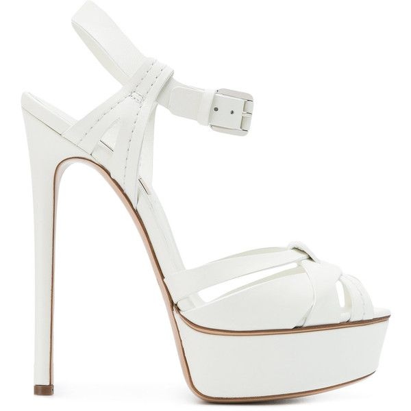 Casadei strappy sandals (€850) ❤ liked on Polyvore featuring shoes, sandals, white, white strappy sandals, ankle strap stilettos, leather sandals, open toe sandals and strap sandals