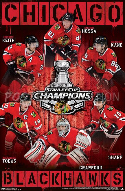 Chicago Blackhawks Stanley Cup 2013 | Chicago Blackhawks 2013 Stanley Cup Champions NHL Sports Poster ...