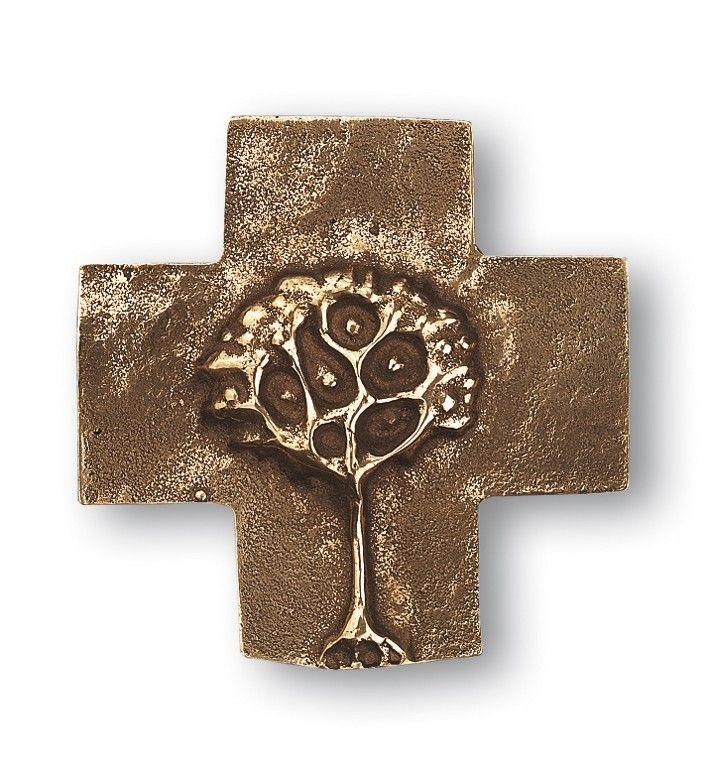 Taufkreuz Lebensbaum 18 cm Bronze Wandkreuz 64543