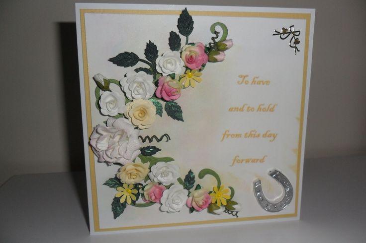 A wedding card. Hand made flowers
