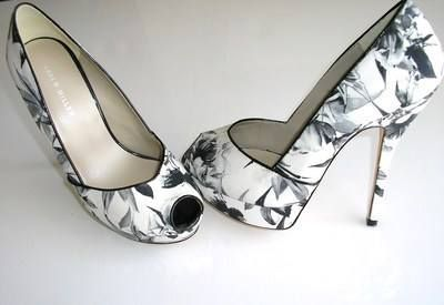 Karen Millen shoes peeptoe whites greys flowers butterfly 5