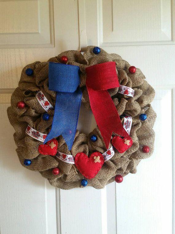 CHD Awareness Burlap Wreath by JennsUniqueWreaths on Etsy