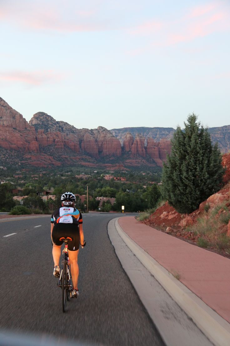 Cycling through Sedona at sunset as part of Team WOW a 4 women cycle team who competed in the Race Across the West in June 2015