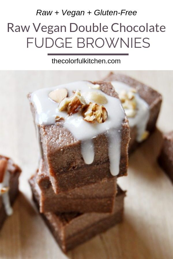 Raw Vegan Double Chocolate Fudge Brownies Gluten Free The Colorful Kitchen Recipe In 2020 Chocolate Brownie Recipe Chocolate Fudge Recipes Easy Raw Desserts
