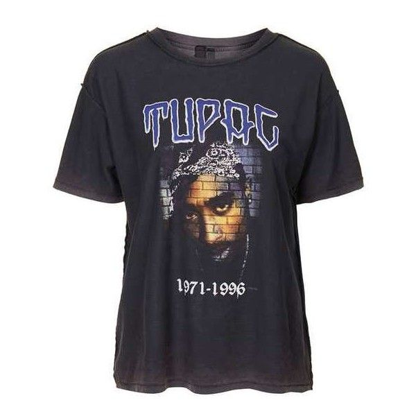 Tupac Tee by and Finally ($36) ❤ liked on Polyvore featuring tops, t-shirts, loose t shirt, loose tops, loose fitting tops, vintage style t shirts and topshop tops