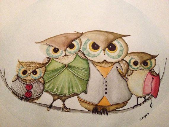 Custom watercolor owl portrait painting by ArtbySarahEngland, $120.00