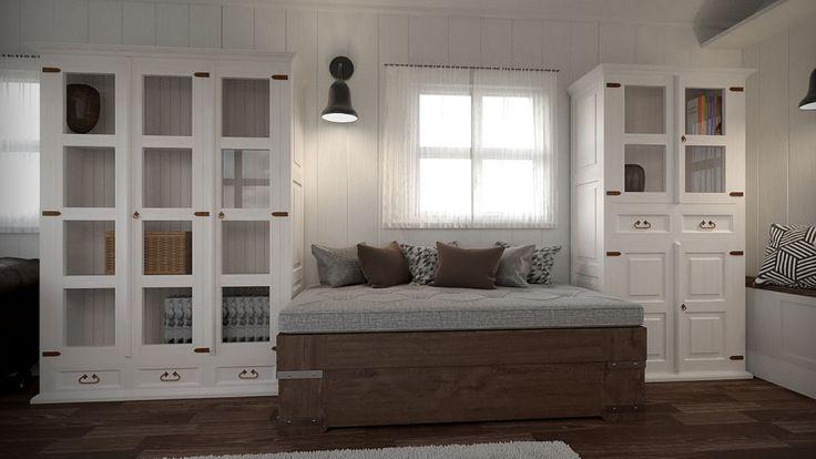 Klasyczna biała drewniana sypialnia. Połączenie klasycznego piękna mebli z drewna z industralnymi dodatkami