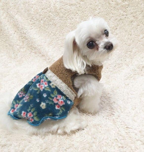 犬服 あったかワンピースmサイズ残り1点 フランネル 生地 犬 服 ハンドメイド ペット服