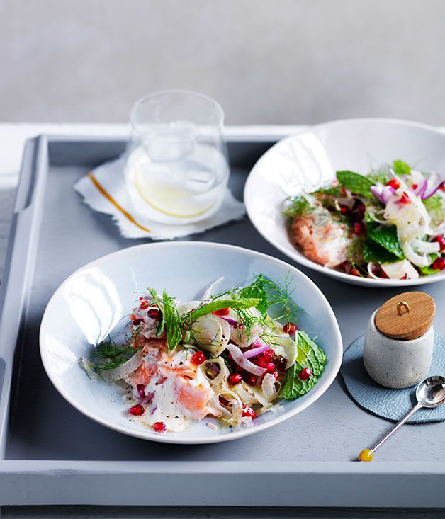 Australian Gourmet Traveller Fast recipe for fish with tahini sauce, pomegranate and fennel