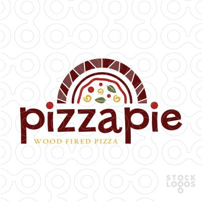 Logo Sold Rustic and fun logo design of a stylized wood fire stove. A Half shape pizza is created in side the wood oven.