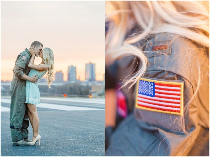 Air Force engagement photos in Knoxville TN at an air port - click to view more on @Cat in a Wedding Dress today! Happy Memorial Day!