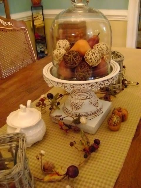 Fall cloche table vignette