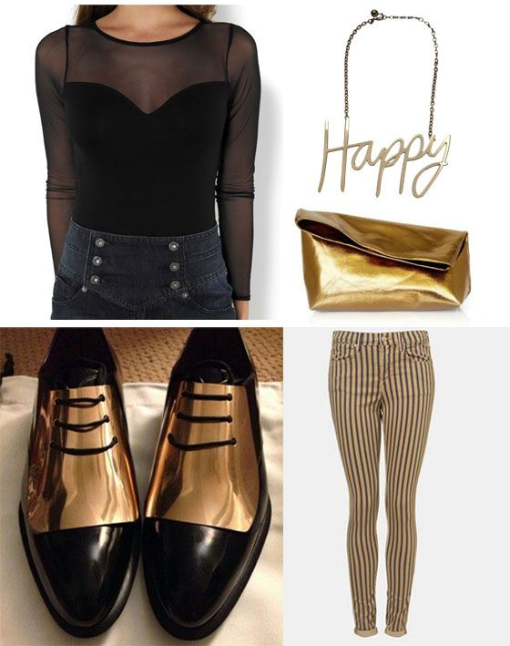 smart casual black and gold look