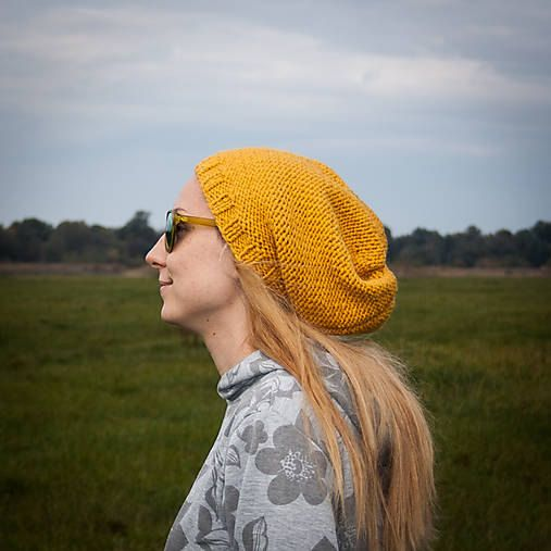 Mustard Yellow Slouchy Beanie Hat / Yellow Urban by RUKAMIshop