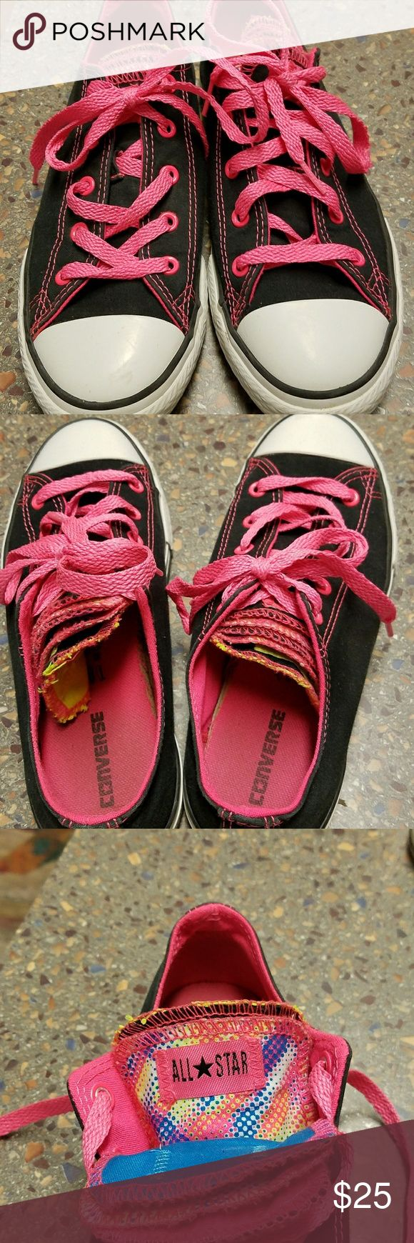 Ladies Converse Black with hot pink trim. Multiple tongues with different designs. Gently used. Look great. Converse Shoes Sneakers