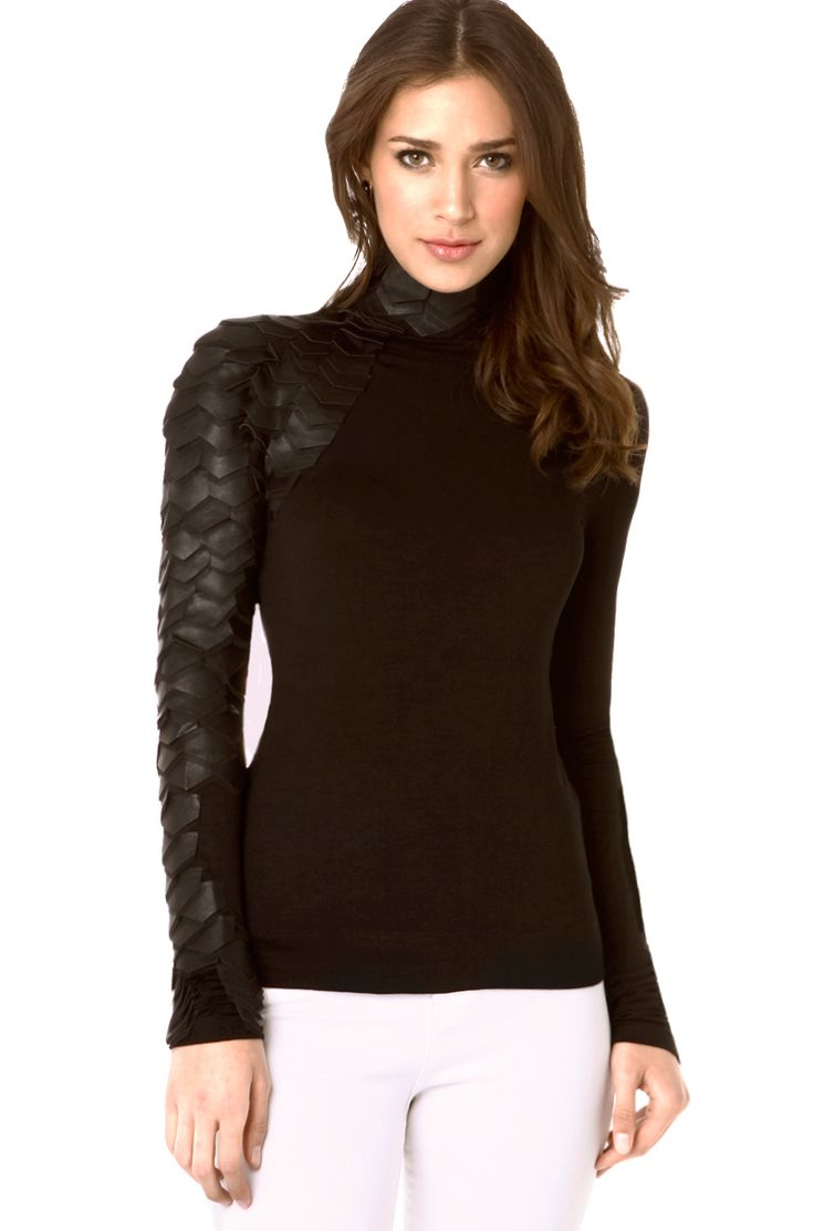Gracia Scale Top In Black Features Long Sleeves Invisible