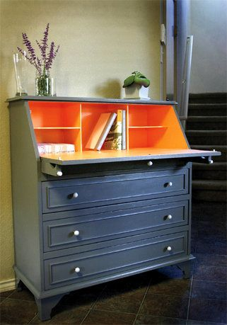 DIY dresser idea. May do this for a desk - bold interior paint with classic exterior
