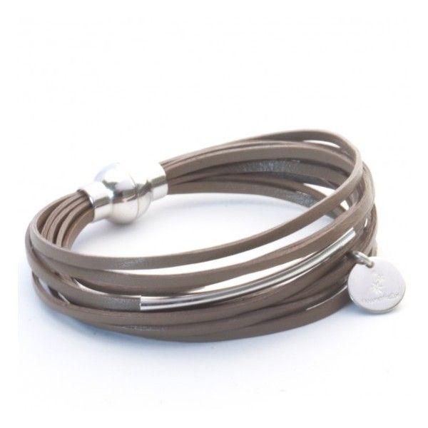 Bracelet cuir multiliens et argent
