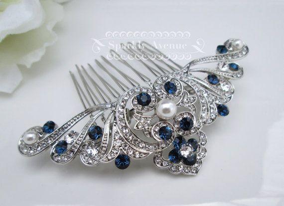 Something Blue Hair comb Art Deco Comb White Pearl Wedding Hair Comb Vintage Inspired Hair Accessory Flower Hair Clip Bridal Hair Comb Anna