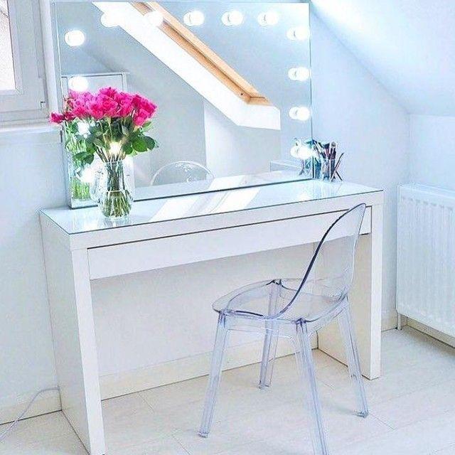 Malm Dressing Table White 120 X 41 Cm Ikea Makeup Vanity Makeup Storage Mirror Makeup Vanity