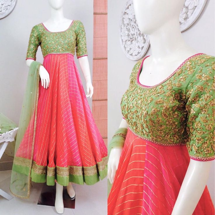 SC-D5124 : Pink Red shaded Anarkali with mint green yoke!!!!We can customize the colour size as per your requirement.To order please call/ WhatsApp on 9949944178 or mail us @ issadesignerstudio@gmail.com 10 April 2017