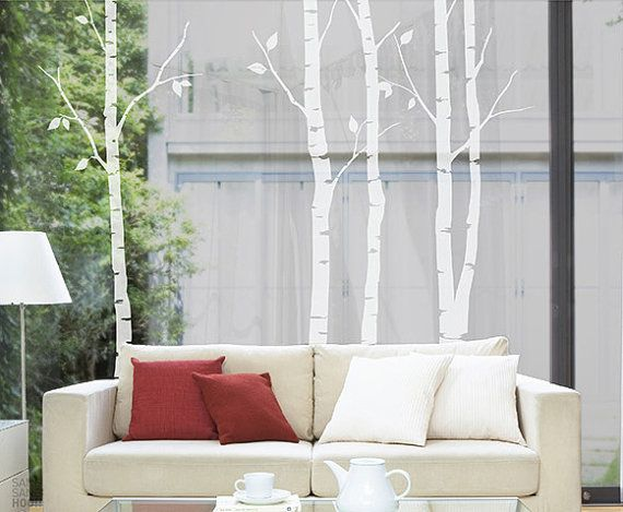 Birch Tree Wall Decal  Nature tree wall Sticker by Walldecorative, $57.99