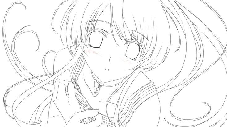Line Art Anime : Anime girl lineart by ellerosey line art pinterest