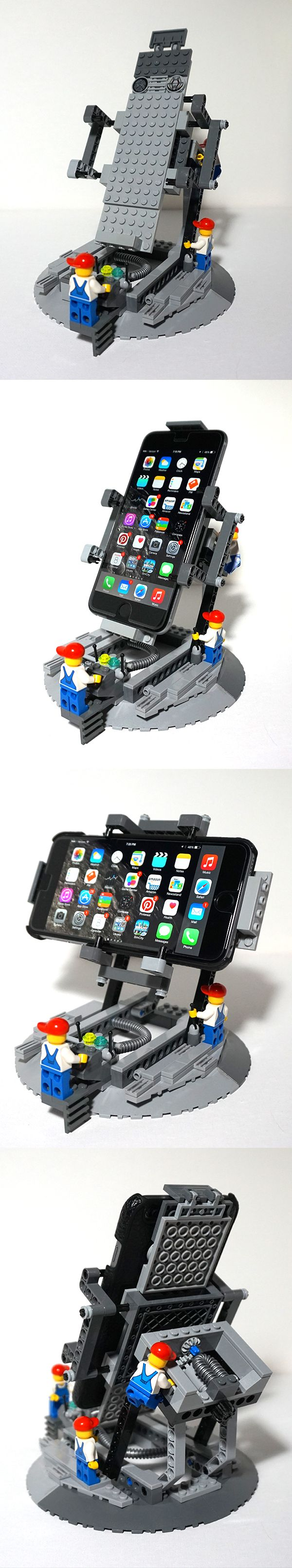 iPhone 6 Plus stand. Dock turns to portrait or landscape. The gears keep it steady. It's also resizable to fit any cover.