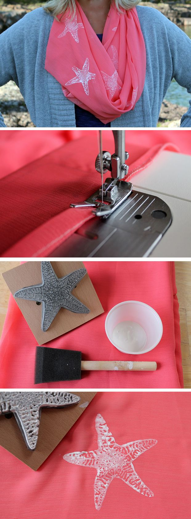Cool summer nights just beg for this nautical starfish scarf! #DIY #style