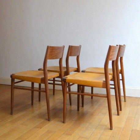 Chaises scandinave teck et cuir #chaises #chaise #scandinave #teck #cuir #vintage #design #home #interior #inspiration #collectorchic
