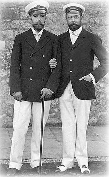 Cousins Tsar Nicholas II and King George V in their last photo together in 1916
