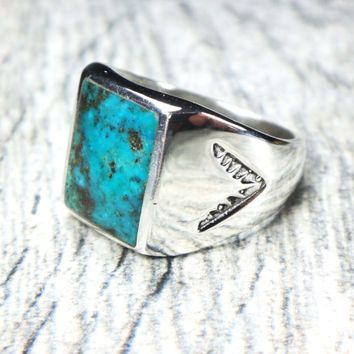 Vintage Turquoise Sterling Silver Ring Sterling Native American Turquoise Ring…
