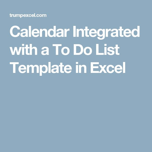 Calendar Integrated with a To Do List Template in Excel
