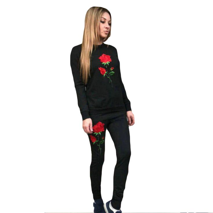 Harajuku Red Rose Embroidery Women'S Tracksuits Casual 2 Piece Set Women Long Sleeve Autumn Winter Sweatshrits + Long Pants #Affiliate
