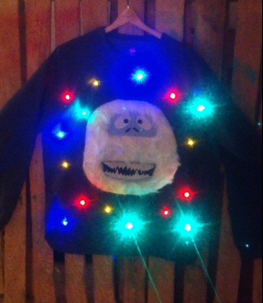 Utterly epic for an ugly sweater party! Light-up ugly Christmas sweater! - Christmas Kitty!...