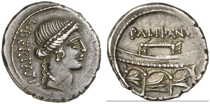 AR Denarius. Roman Coin, Roman Republic, Moneyers, Lollius Palicanus. 45 BC. 3,71g. Syd. 960. Nearly EF. Price realized 2011: 850 USD.