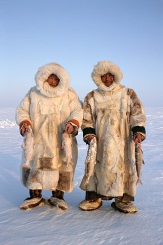 Nenets reindeer herders, Sasha Yeyvi (right) with Sertoharby, his grandfather hold Broad Whitefish they have just caught under the ice. Gyda...