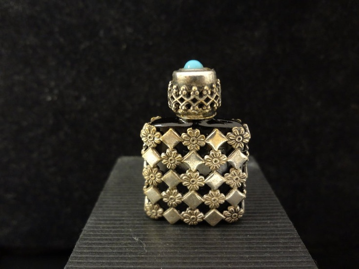 Silver French Glass Blue Stone Vintage Scent Bottle