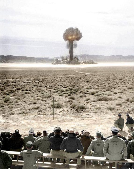 Atomic explosion at Nevada Test Site. (Colorized Photo) 1957.