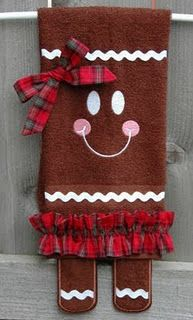 Gingerbread Towel: Holidays Towels, Gingerbread Towels, Christmas Crafts, Kitchens Towels, Gift, Teas Towels, Embroidery Gardens, Gingers Legs, Christmas Gingerbread