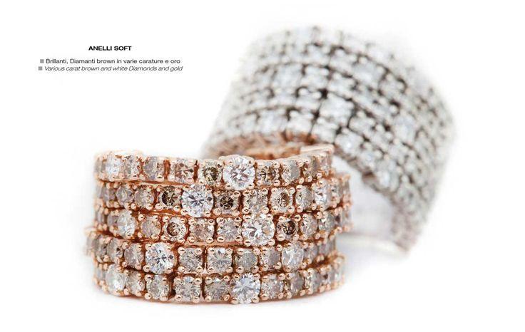 Anelli Soft - Various carat brown and white Diamonds and gold - Brillanti, Diamanti brown in varie carature e oro #jewelry #gioielli #luxury #madeinitaly #classic