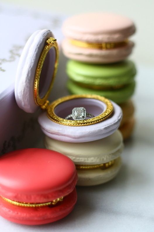 French Macaron wedding ring box...would be so pretty on glass tray with gold accents alongside other jew..need the cream one. How pretty!