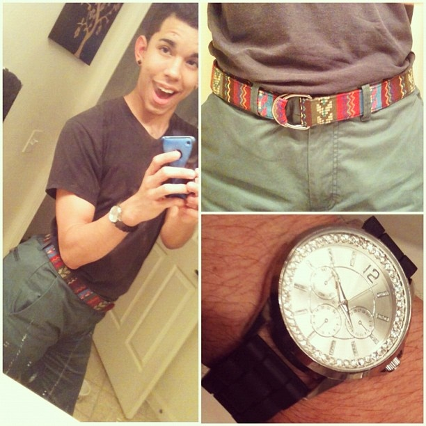 I felt cute today .  #gayboy #gay #guyswithiphones #school #highschool #cute #outfit #ootd #style #fashion #olive #tribalprint #belt #watch #wristwatch #wetseal #forever21 #21men #simple I felt cute today .  #gayboy #gay #guyswithiphones #school #highschool #cute #outfit #ootd #style #fashion #olive #tribalprint #belt #watch #wristwatch #wetseal #forever21 #21men #simple