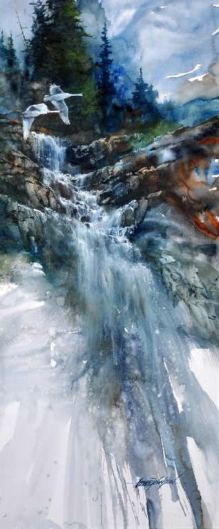 Beautiful Waterfall. The colors reflect the beauty of nature and fade as the water trickles downwards. Lance Johnson Paintings  http://www.bestlandscapepaintings.com